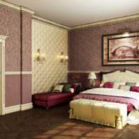 Виниловые обои в дизайне спального помещения