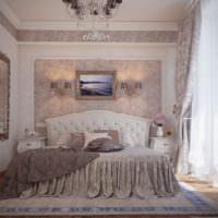 Декорирование стены над изголовьем кровати с помощью картины
