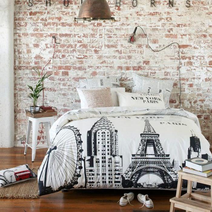 Спальня в стиле лофт с обоями под кирпич