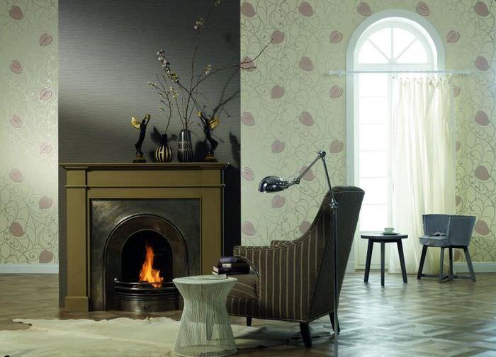 Дизайн гостиной с обоями компаньонами