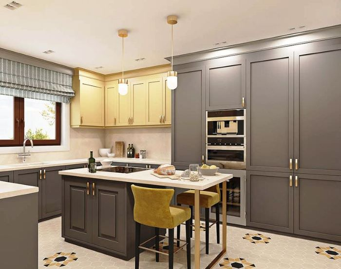 Дизайн-проект рабочей зоны совмещенной кухни-гостиной