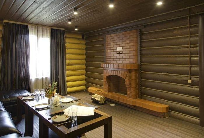Комфортное освещение в комнате отдыха бани