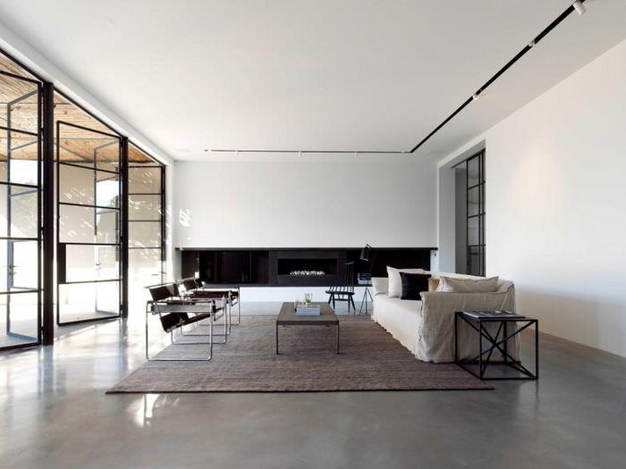 Оформление пространства гостиной в стиле минимализма