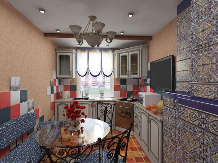 Пестрая керамическая плитка в интерьере кухни