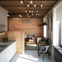 Деревянный потолок в гостиной в стиле лофт