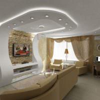 Гипсокартонная конструкция на потолке с переходом на стену