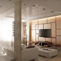 Встроенные светильники точечного типа в потолке гостиной
