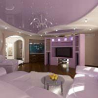 Дизайн гостиной в фиолетовых оттенках
