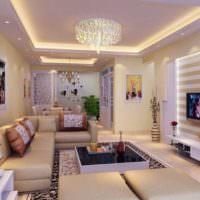 Освещение просторного зала частного дома