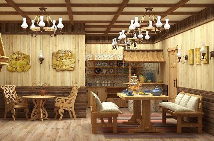 Интерьер комнаты для отдыха в бане деревенского стиля