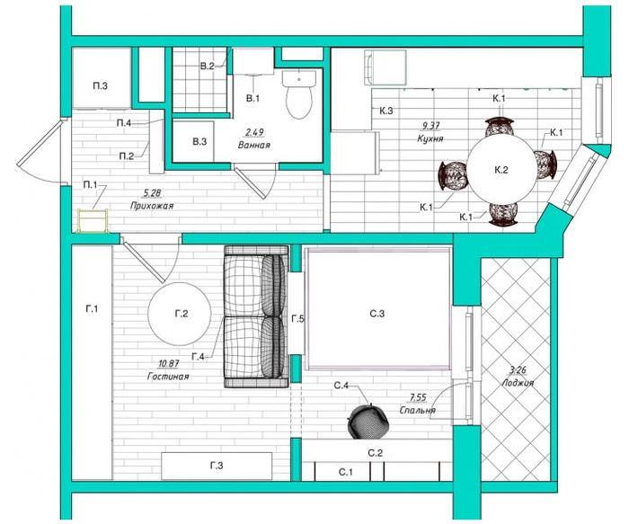 Дизайн-проект однокомнатной квартиры площадью 38 кв метров