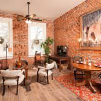 Красный кирпич в дизайне жилого помещения