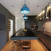 Металл и бетон в интерьере кухни