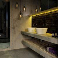 Серый бетон в оформлении ванной комнаты