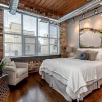 Спальня в стиле лофт в современном загородном доме