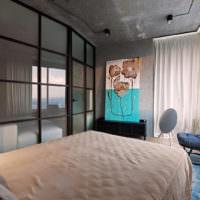Стеклянная перегородка в спальня стиля лофт