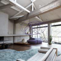 Балки в интерьере гостиного помещения