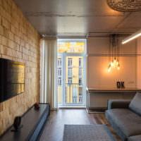Дизайн гостиной городской квартиры в стиле лофт