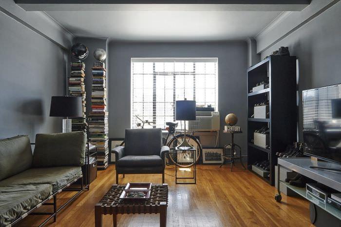 Дизайн однокомнатной квартиры в серых оттенках