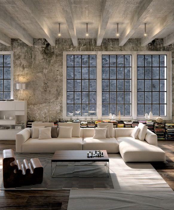 Бетонный потолок в интерьере гостиной в стиле лофт