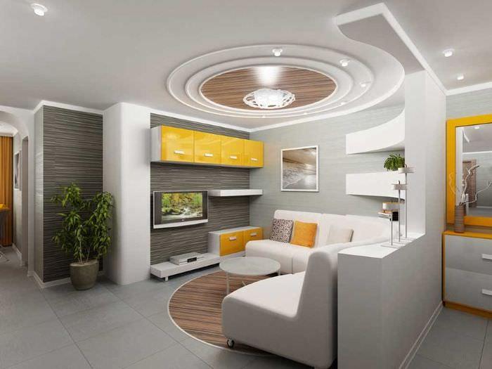 Потолок сложной формы из гипсокартона в дизайне гостиной