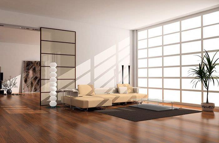 Интерьер просторной гостиной частного дома в стиле минимализм