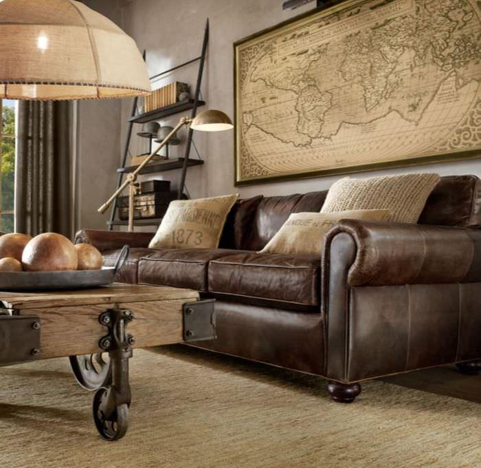 Интерьер гостиной в ретро-стиле с коричневым диваном