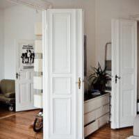 Распашные двери светлого окраса