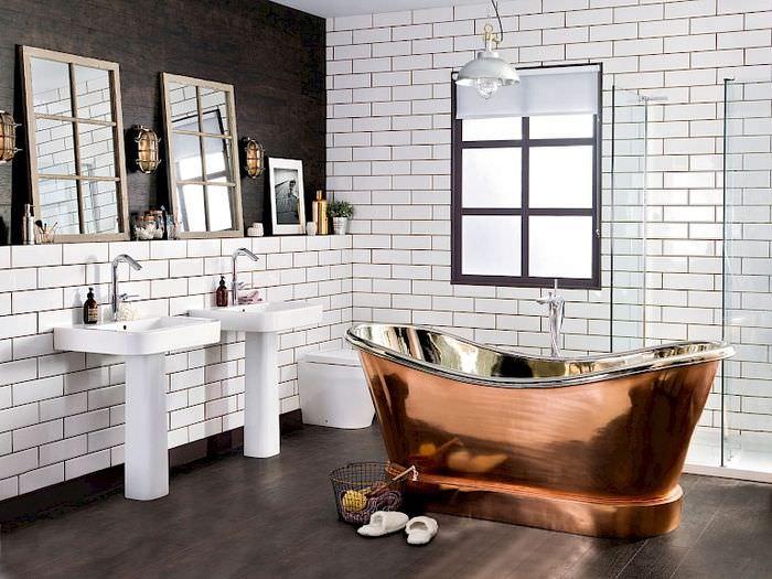 Дизайн светлой ванной комнаты в индустриальном стиле