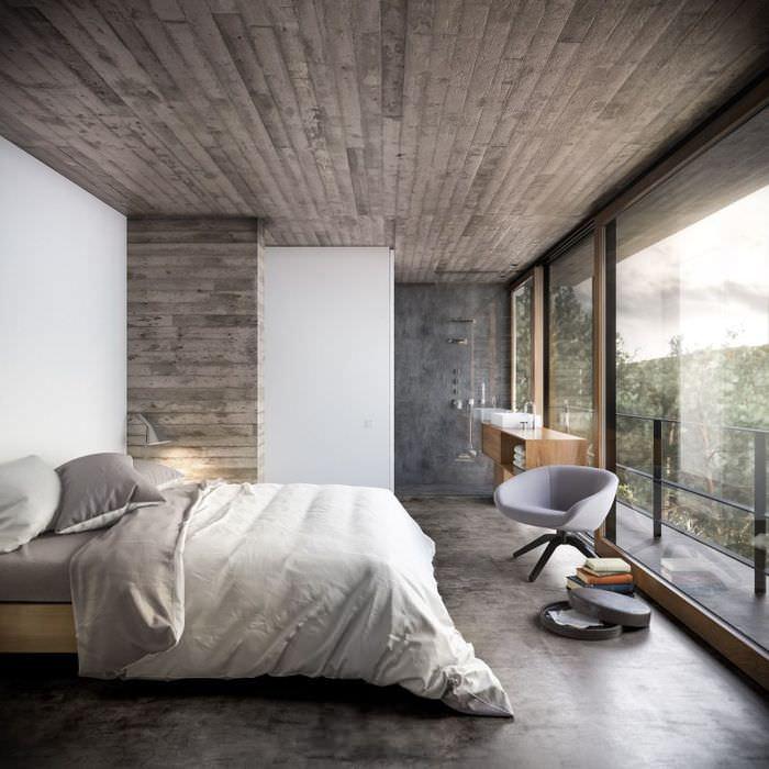 Интерьер спальни с панорамными окнами и потолком из дерева