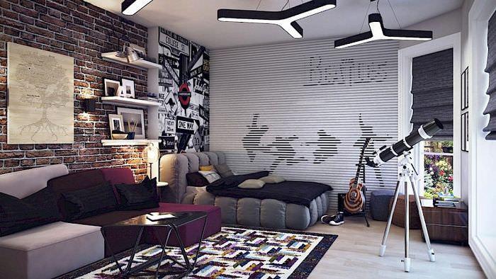 Интерьер спальни-гостиной в стиле лофт