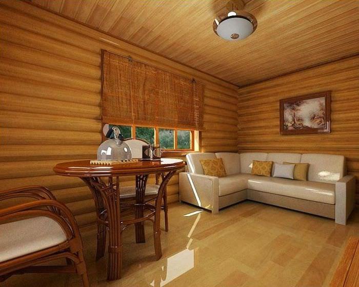 Дизайн комнаты отдыха в современной бане
