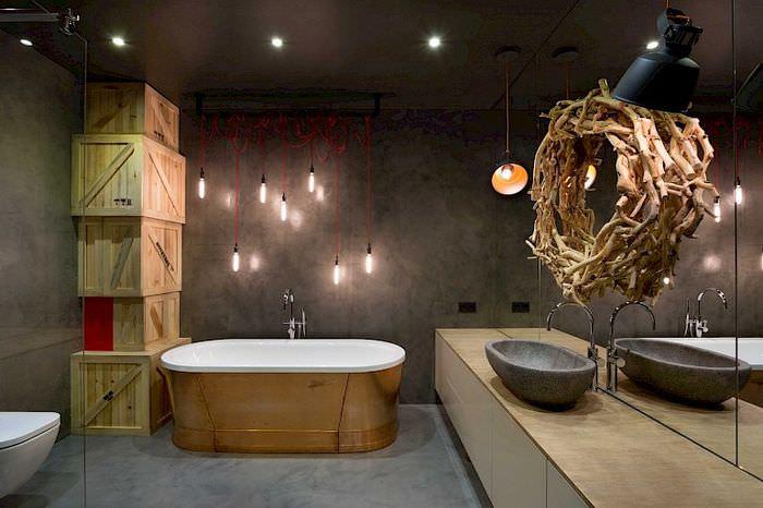 Дизайн темной ванной комнаты в стиле лофт
