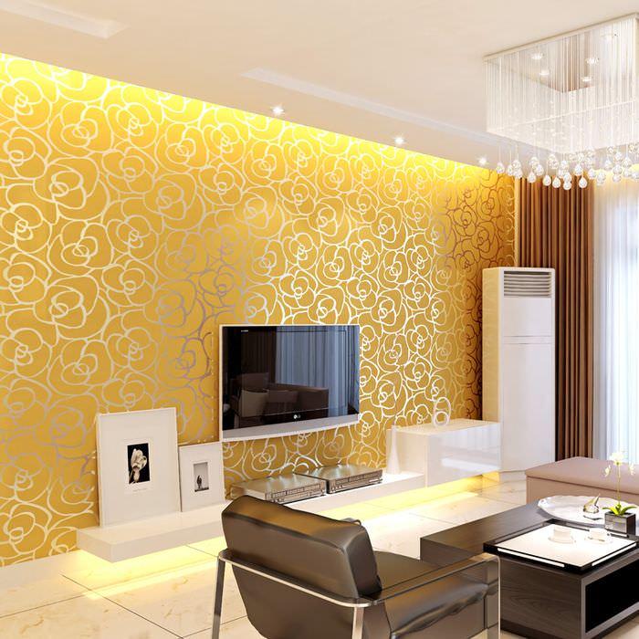 Гостиная в современном стиле с золотистыми обоями