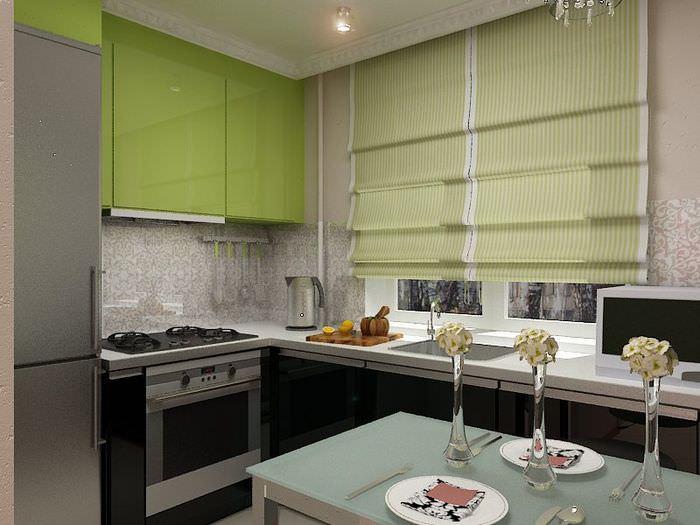 Рабочая зона угловой планировки на кухне-гостиной