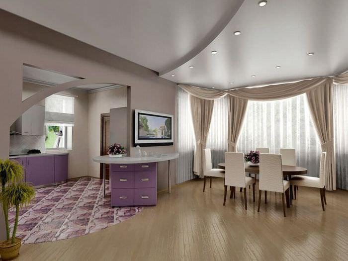 Зонирование зала с помощью создания подвесного потолка