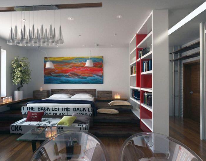Дизайн однокомнатной квартиры с открытыми стеллажами