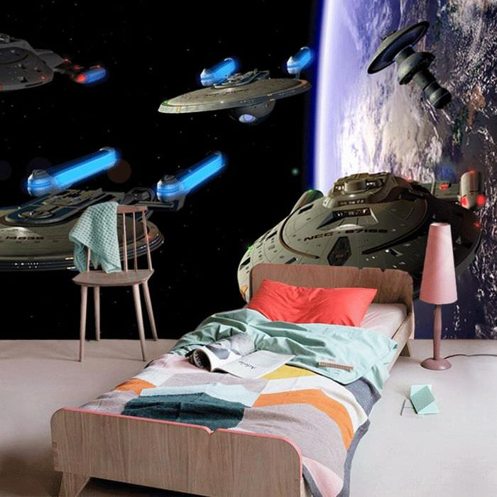 Звездные корабли на стене детской комнаты