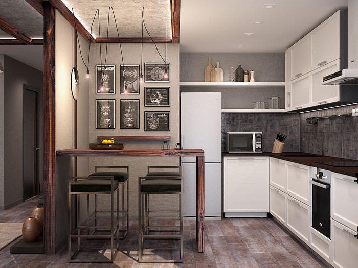 Дизайн кухни в однокомнатной квартире после ремонта