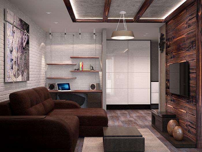 Белая стена в гостиной промышленного стиля