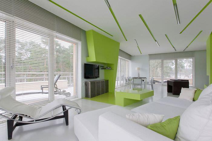 Зеленый цвет в интерьере стиля хай-тек