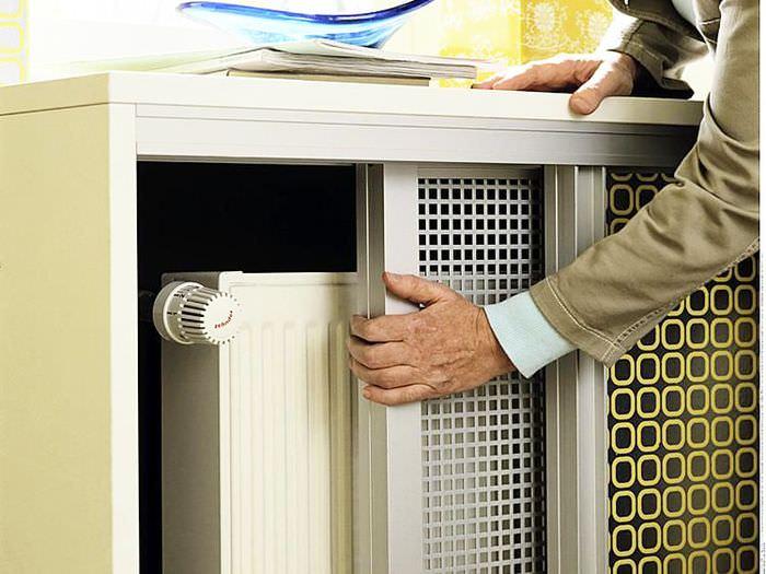 Экран для батарее отопления с раздвижными панелями