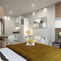 Спальная зона в квартире студии