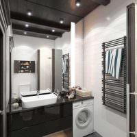 Черный потолок в ванной комнате