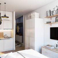 Белый шкафы кухонной мебели без ручек