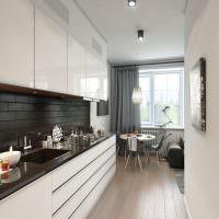 Линейная планировка кухни-гостиной