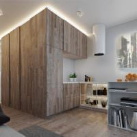 Кухня в стиле минимализма с деревянными шкафами