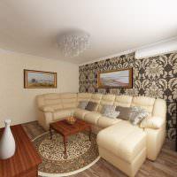 Комплект мягкой мебели с угловым диваном и пуфом