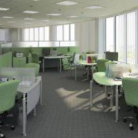 Серо-зеленый интерьер офисного помещения