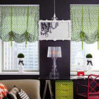 Черная стена и зеленые шторы